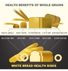 White whole grain bread vector