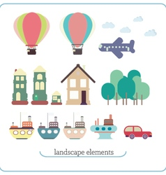 Elements for landscape ship balloon plane vector