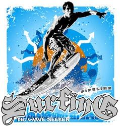 surfing big wave vector image