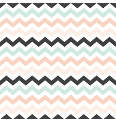 Chevron mint peach black pattern vector