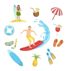 Beach And Surfing Holidays Icon Set vector image vector image
