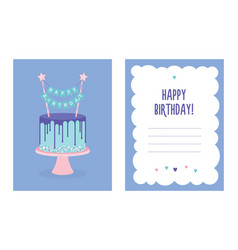 birthday greeting card with cake vector image vector image
