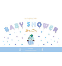 boy baby shower template party invitation card vector image