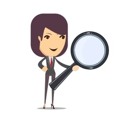 Business woman with a magnifying glass vector