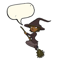 Cartoon witch riding broomstick with speech bubble vector