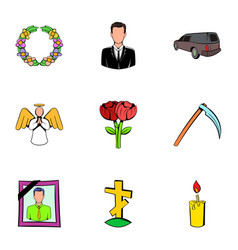 cemetery icons set cartoon style vector image