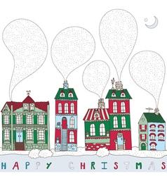Christmas township card vector