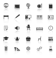 Classroom icons with reflect on white background vector