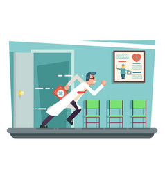 Doctor running out consulting room door hurry vector