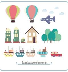 Elements for landscape ship balloon plane vector