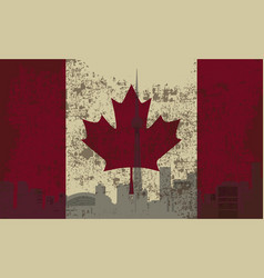 Flag of canada and the outline of toronto vector