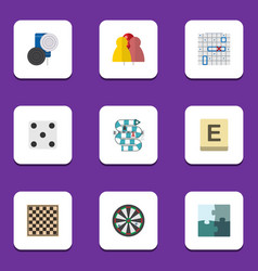 Flat icon games set of chequer jigsaw chess vector