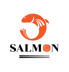 Fresh salmon meat logo with fish jump vector