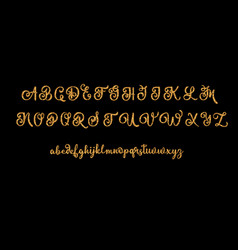 Glitter gold alphabet font on black vector