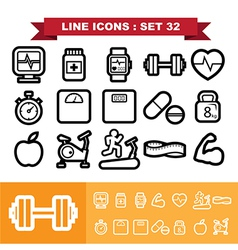 Line icons set 32 vector image