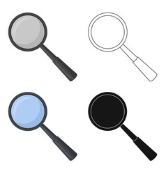 magnifying glass icon in cartoon style isolated on vector image