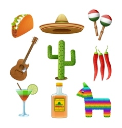 Mexican icons set flat vector