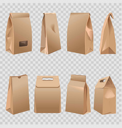 paper bags 3d with cut handles and rolled fold vector image vector image