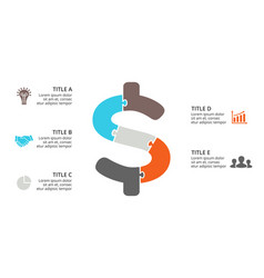 Puzzle dollar infographic cycle diagram vector