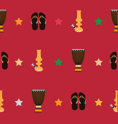 rastafarian seamless pattern with bongos flip vector image