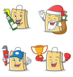 Set of bag character with beer gift plumber winner vector