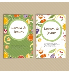 Set of Cards with Floral Pattern vector image
