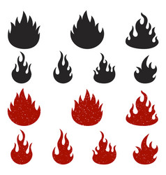 set of fire icons isolated on white background vector image vector image