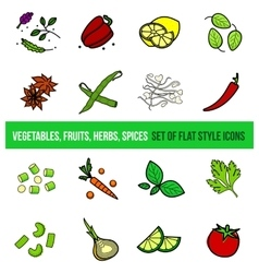 set of vegetables and spices vector image vector image