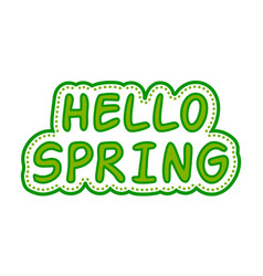Sticker hello spring green style vector