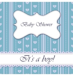 Striped baby shower boy vintage vector