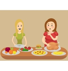 Thin and thick girl eating cartoon vector
