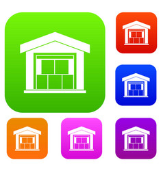 warehouse building set collection vector image vector image