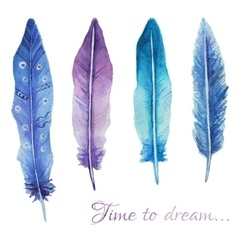 Watercolor print with feathers and romantic script vector