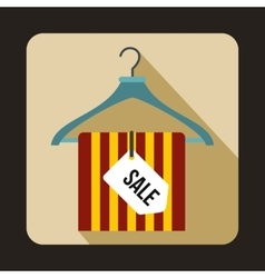 Hanger with sale tag icon flat style vector
