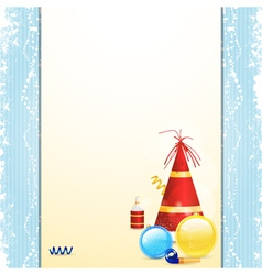 Christmas bauble and party hat panel background vector