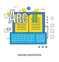 Online education - image book with the keyboard vector