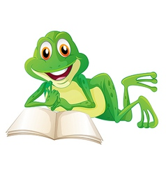 A frog lying while reading a book vector