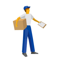 Delivery man holding carton box and papers vector