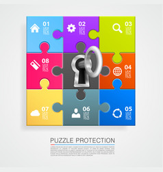 puzzle infographics with key vector image
