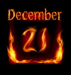 Twenty-first december in calendar of fire icon on vector
