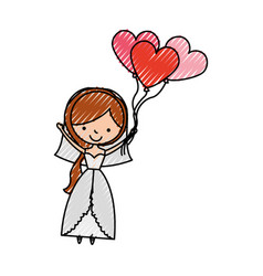 Cute wife with shaped heart pumps avatar character vector