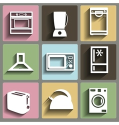Kitchen and house appliances icons set vector