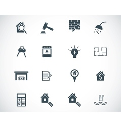 Black rea estatel icons set vector