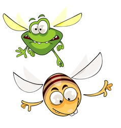 Cartoon bee and insects fly vector
