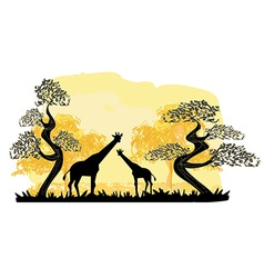 Two giraffes silhouette with jungle landscape vector