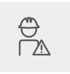 Worker in caution sign thin line icon vector