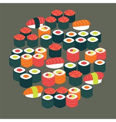 Restaurant food sushi sashimi and rolls flat vector
