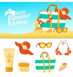 Summer background and icons vector
