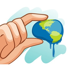 Save water theme with hand squeezing earth vector