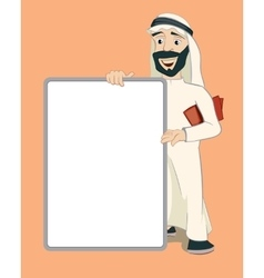 Arab businessman holding empty white banner vector